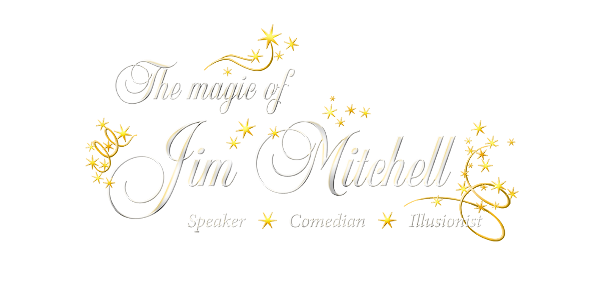 the magic of jim mitchell logo text with stars